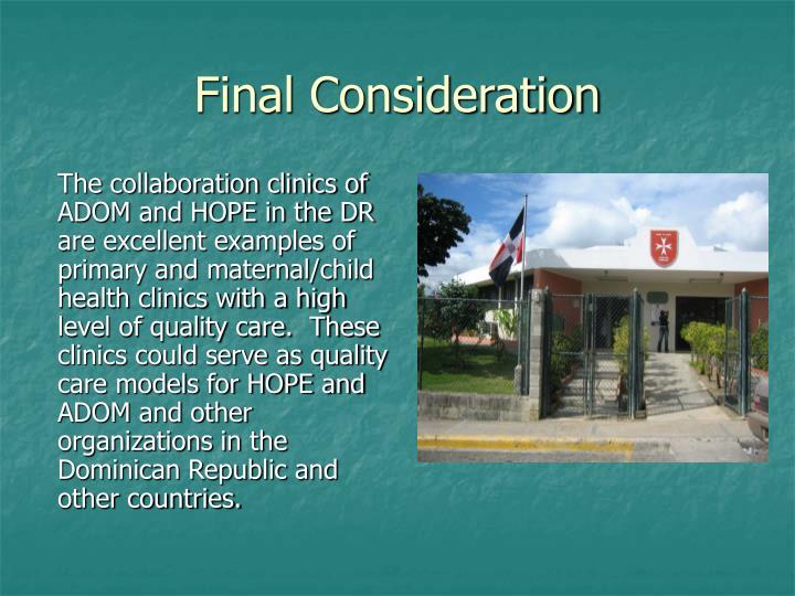 Final Consideration
