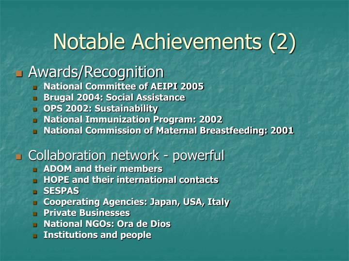 Notable Achievements (2)