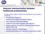 improve communication between healthcare professionals1