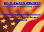 gold award winners locals with 2 increase in density or higher1