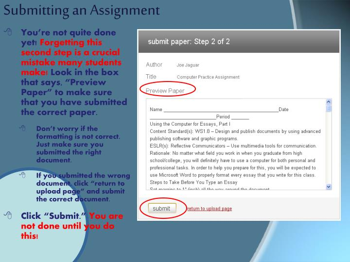 Submitting an Assignment