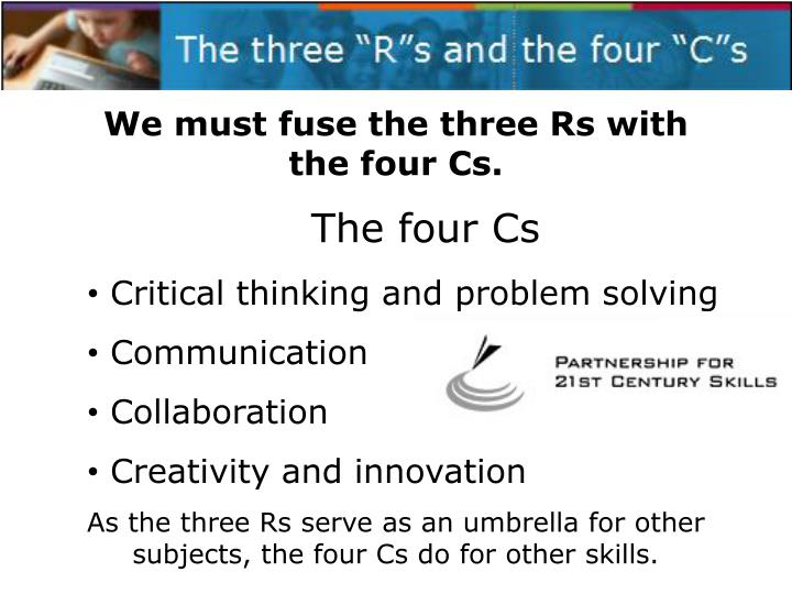 "The three ""R""s and the four ""C""s"