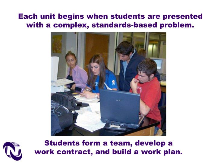 Each unit begins when students are presented with a complex, standards-based problem.