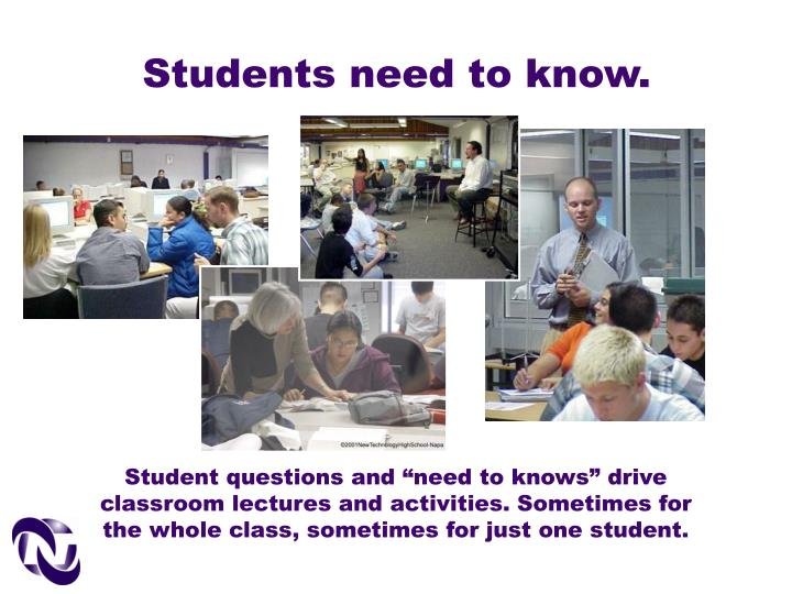 Students need to know.