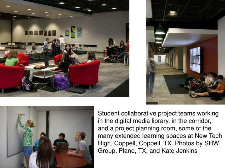Student collaborative project teams working in the digital media library, in the corridor, and a project planning room, some of the                                                                                         many extended learning spaces at New Tech High, Coppell, Coppell, TX. Photos by SHW Group, Plano, TX, and Kate Jenkins