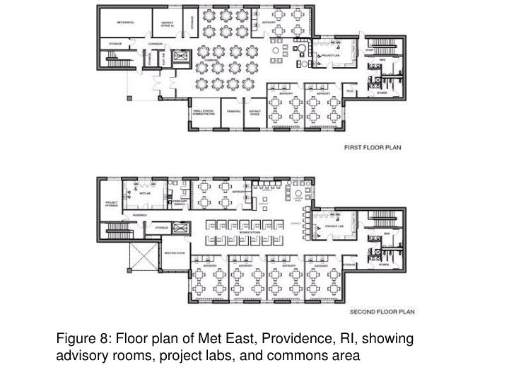 Figure 8: Floor plan of Met East, Providence, RI, showing advisory rooms, project labs, and commons area
