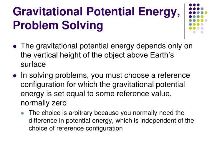 Gravitational Potential Energy, Problem Solving