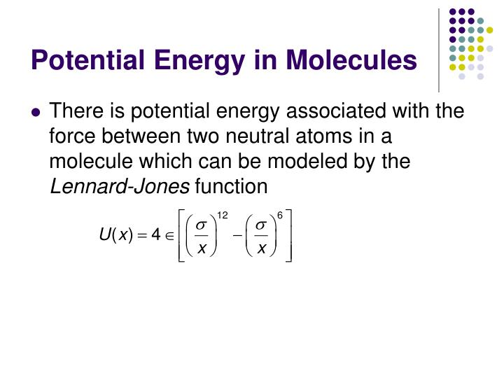 Potential Energy in Molecules