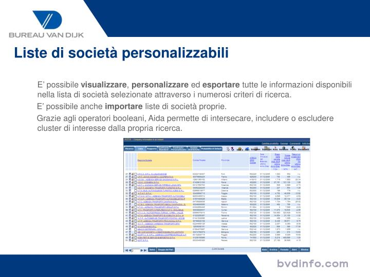 Liste di società personalizzabili