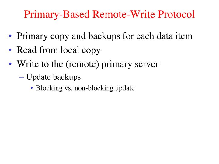 Primary-Based Remote-Write Protocol