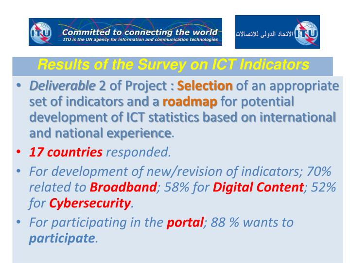 Results of the Survey on ICT Indicators