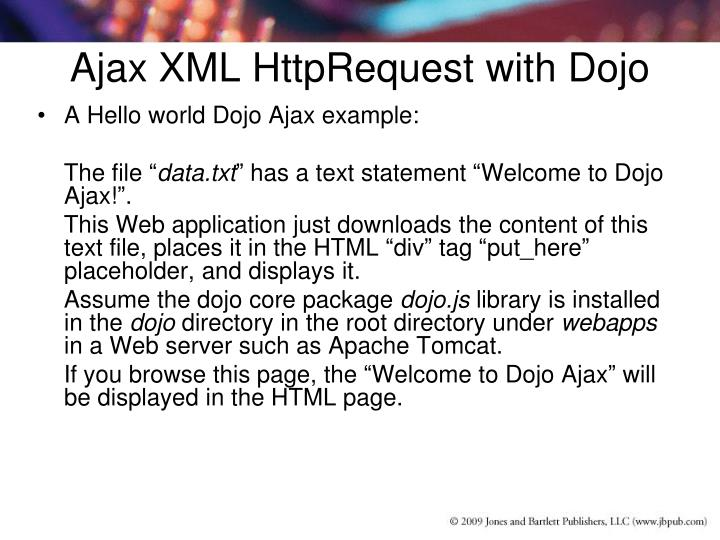 Ajax XML HttpRequest with Dojo