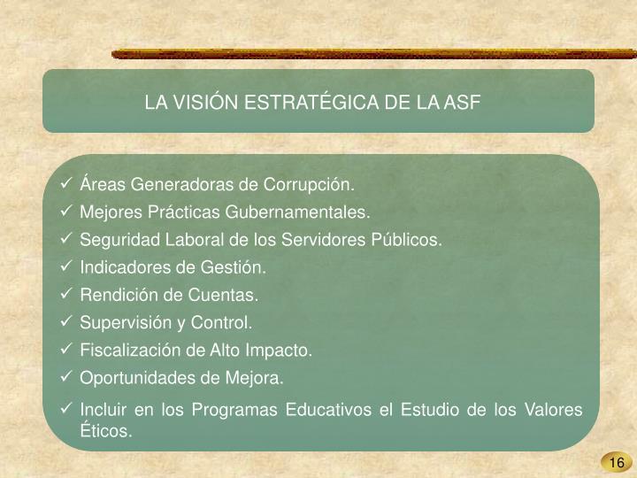 LA VISIÓN ESTRATÉGICA DE LA ASF
