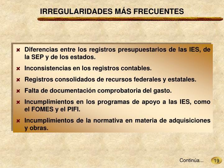 IRREGULARIDADES MÁS FRECUENTES