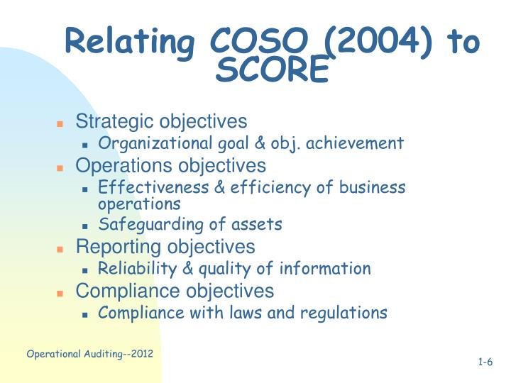 Relating COSO (2004) to SCORE