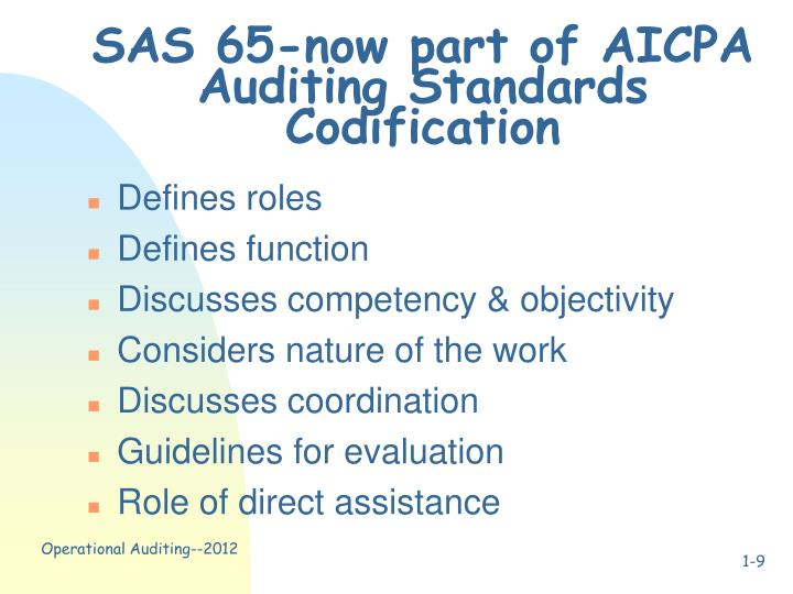 SAS 65-now part of AICPA Auditing Standards Codification