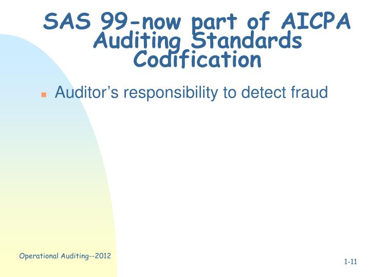 SAS 99-now part of AICPA Auditing Standards Codification