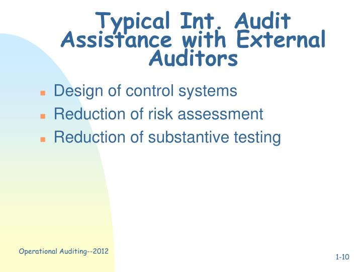 Typical Int. Audit Assistance with External Auditors