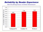 reliability by reader experience intro psychology essays on neural transmission