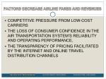 factors decrease airline fares and revenues