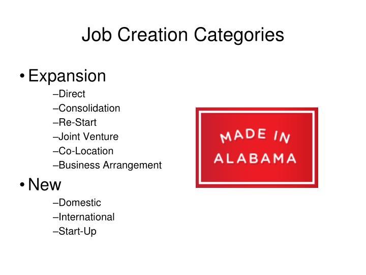 Job Creation Categories