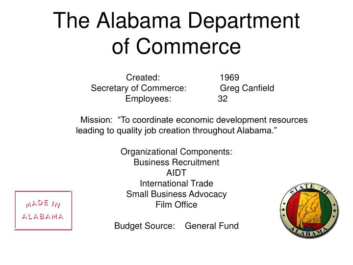 The alabama department of commerce