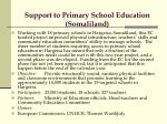 support to primary school education somaliland
