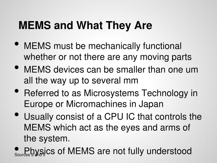Mems and what they are