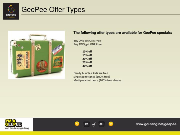 GeePee Offer Types