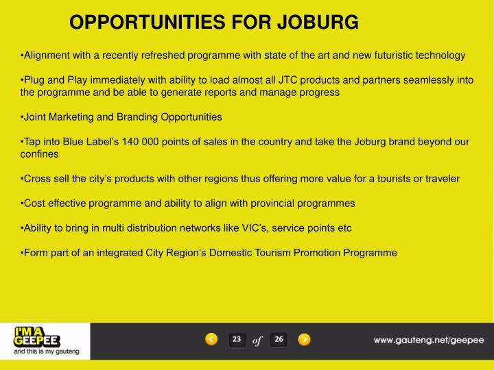 OPPORTUNITIES FOR JOBURG