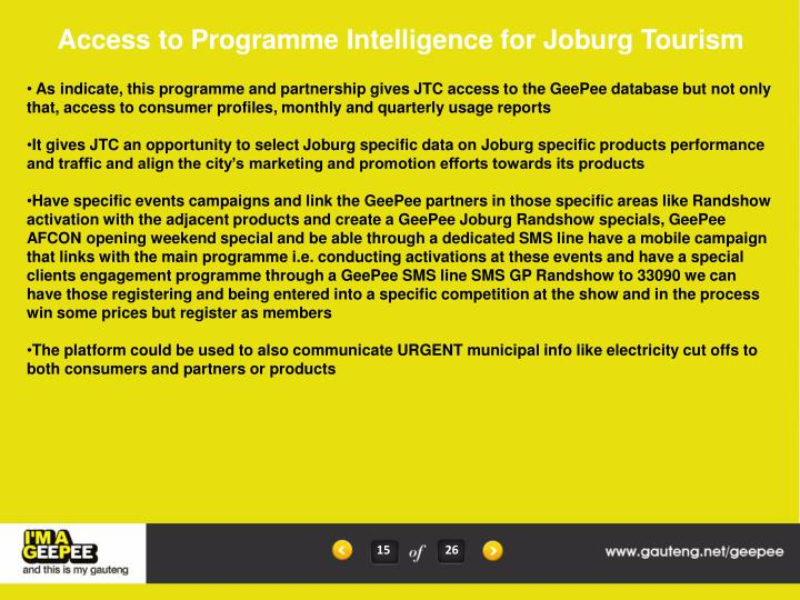 Access to Programme Intelligence for Joburg Tourism
