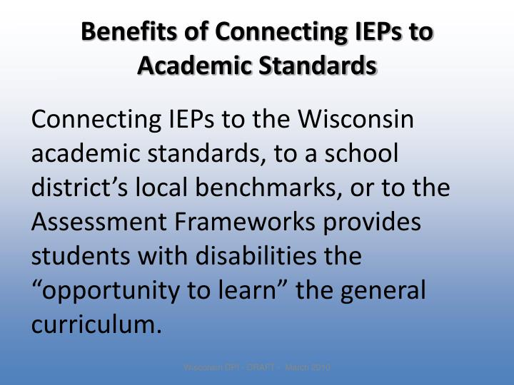 Benefits of Connecting IEPs to Academic Standards