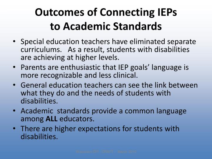 Outcomes of Connecting IEPs