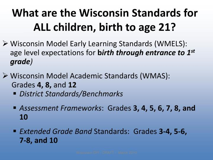 What are the Wisconsin Standards for ALL children, birth to age 21?