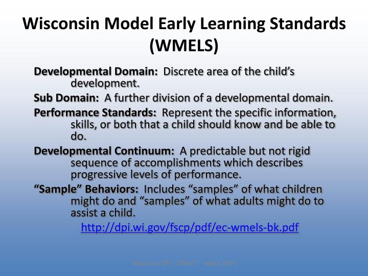 Wisconsin Model Early Learning Standards (WMELS)
