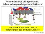 reconnaissance des symbiontes i nflammation physiologique et tol rance