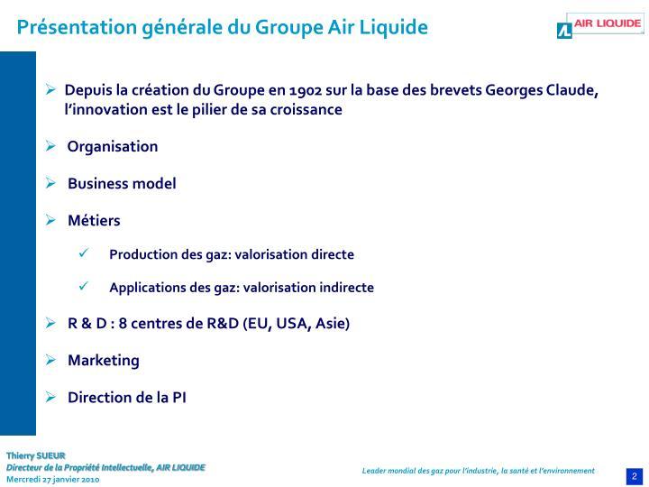Présentation générale du Groupe Air Liquide