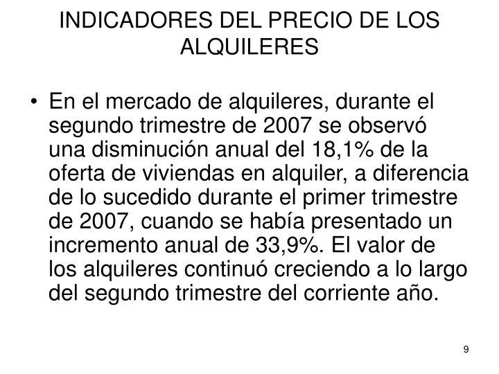 INDICADORES DEL PRECIO DE LOS ALQUILERES