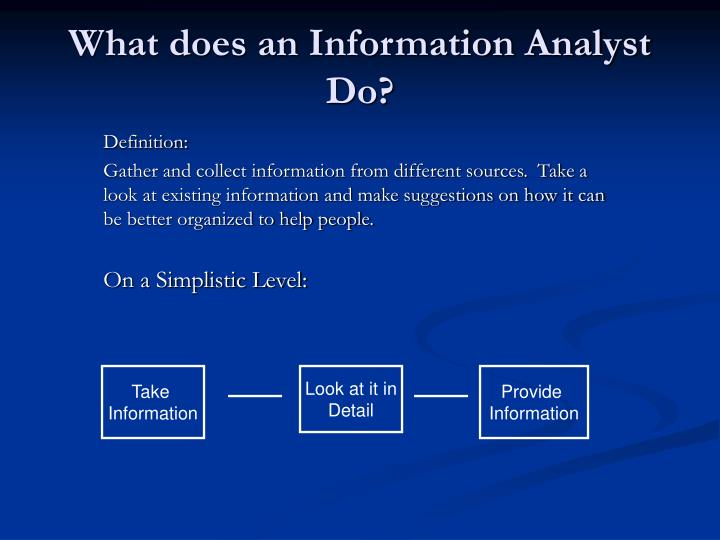 What does an information analyst do