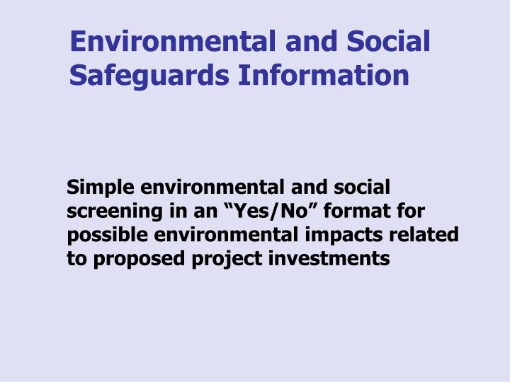 Environmental and Social Safeguards Information