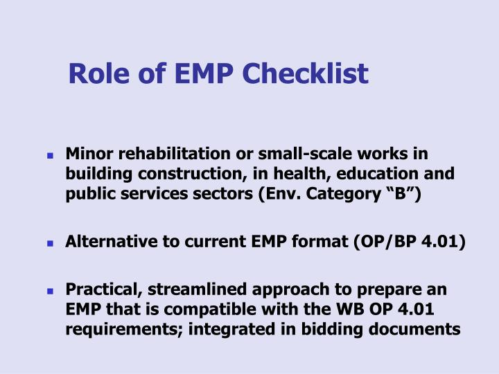 Role of emp checklist