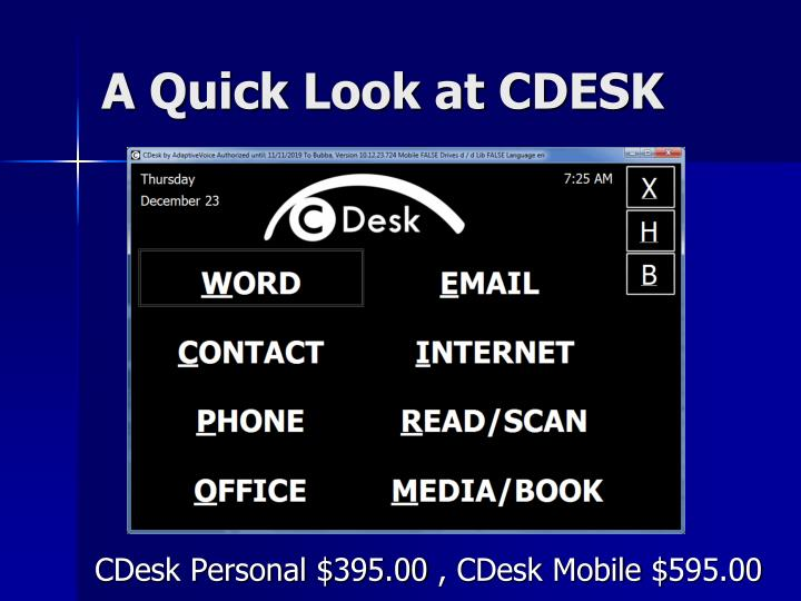 A Quick Look at CDESK