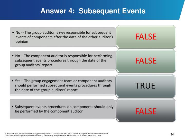 Answer 4:  Subsequent Events