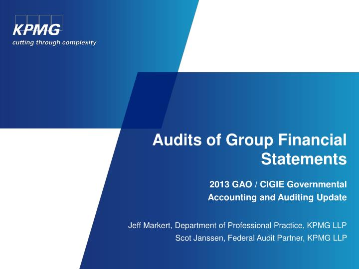 Audits of group financial statements