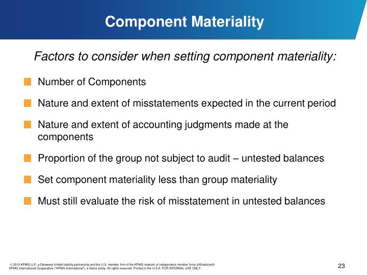 Component Materiality
