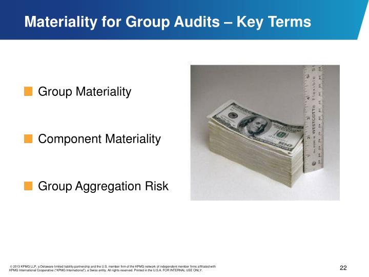 Materiality for Group Audits – Key Terms