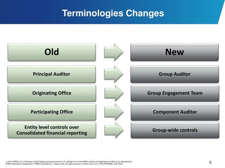 Terminologies Changes