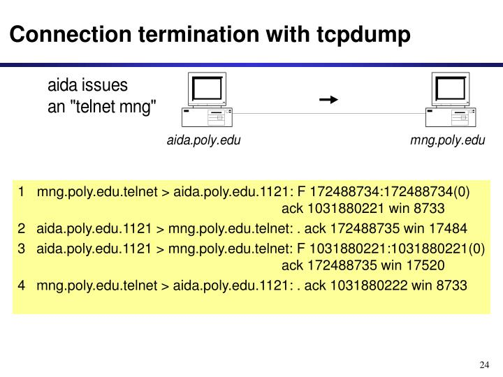 Connection termination with tcpdump