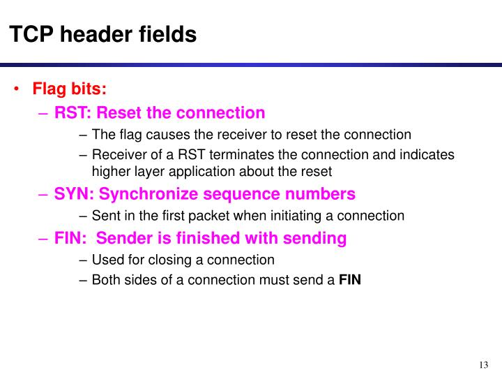 TCP header fields