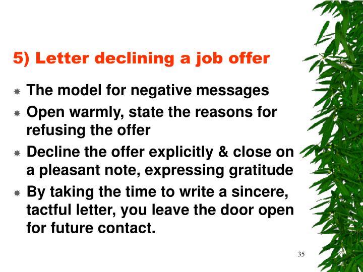 5) Letter declining a job offer